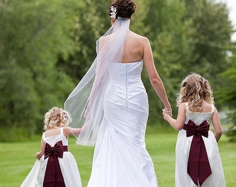 Wedding Veil Silk Pencil Edge Trim Sheer Fingertip Bridal Veil