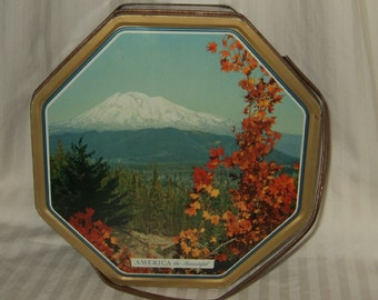 """antique tin with lid and handle 1952 Golden Anniversary """"America The  Beautiful""""  tin vintage tin antique tin with lid and handle"""