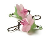 Pink Promise Floral Crystal Antique Brass Earrings, Pink Flower Earrings, Lucite Flower Beads, Pastel Flower Jewelry, Rose Crystal Earrings