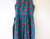 Teal floral sheath dress sleeveless Jane Schaffhausen for belle france 80s M