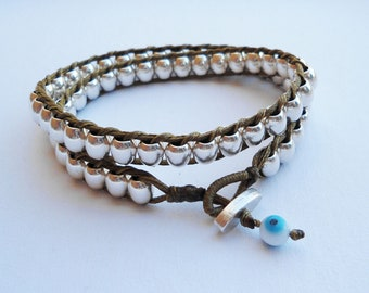 Double Wrap Bracelet - Silver plated round beads