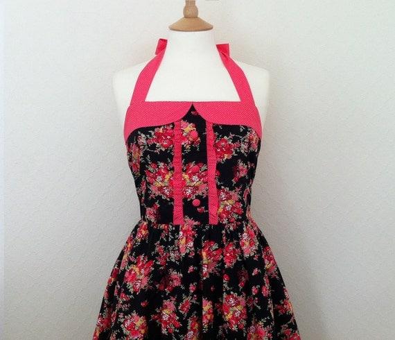 Spring Sale. Retro Dress, Medium size, vintage orange coral floral pattern on a black fabric, fully lined