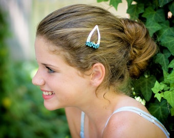 CLEARANCE - Lagoon Barrette- Teal Blue glass pearls, Swarovski crystals, steel heart snap clip for girls, teens, and women by reynared