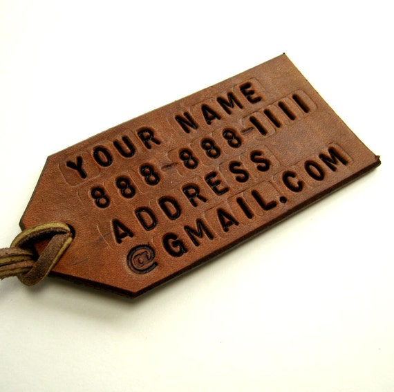 Personalized Leather Luggage Tag Tan Brown Leather Custom Luggage Tag Bespoke Travel