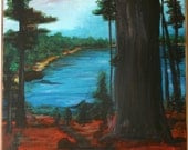 Original Acrylic On Canvas Painting View From The Trees