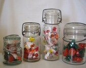 Sale - Vintage Glass Storage Jars With Metal Bale Storage Containers Vintage Container Glass Storage Container