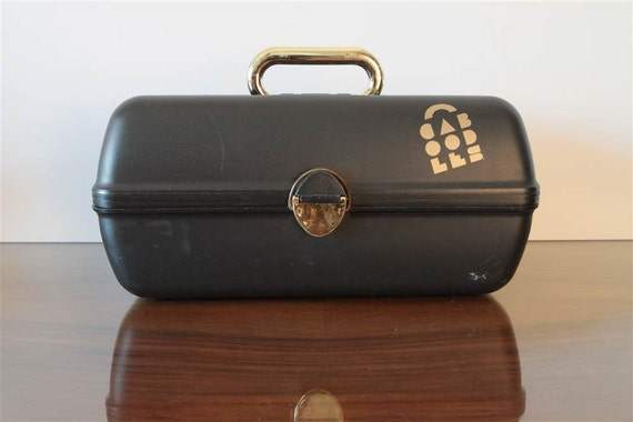 1980's Black and Metallic Gold Caboodles Cosmetic and Accessories Case