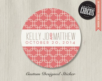 Custom Wedding Stickers - Modern Deco Chainlink Theme