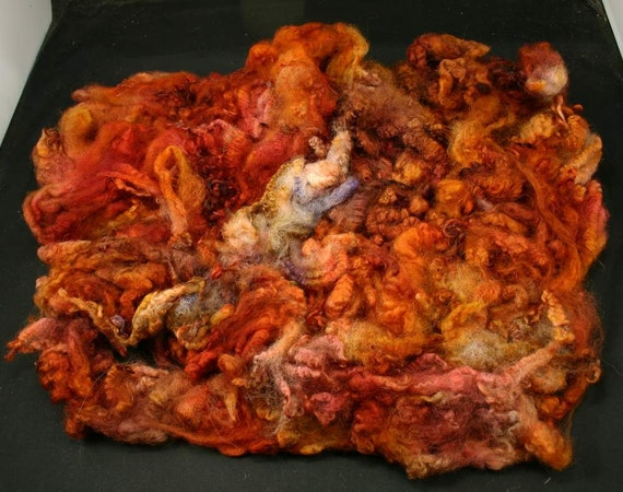 Romney lock fleece, hand painted fiber for spinning and felting, 4.2 oz, reserved for Rami