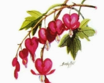 Pink Bleeding Hearts -  Note Cards - Stationery