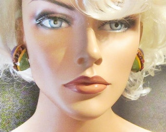 Vintage Art Deco Style Enamel Clip Earrings