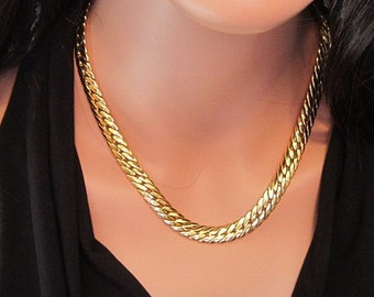 Vintage Large Link Gold Necklace - N-506 - Gold Chain Necklace