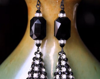 OOAK Black and White Sparking Crystal Cones Statement Earrings