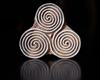 Hand Carved Indian Wood Textile Stamp Block-  Celtic Tri-Spiral