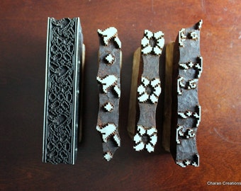 Hand Carved Indian Wood Textile Stamp Block Set- OOAK Four Color Geometric Style Floral Border