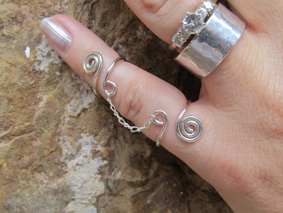 Sterling Silver Double Ring and Chain Adjustable Comfortable Slave Stylish and Modern FREE US Shipping