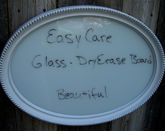 Wedding Decor Sign, Oval Dry Erase Glass, Home Decor, White And Silver Frame Dry Erase Board