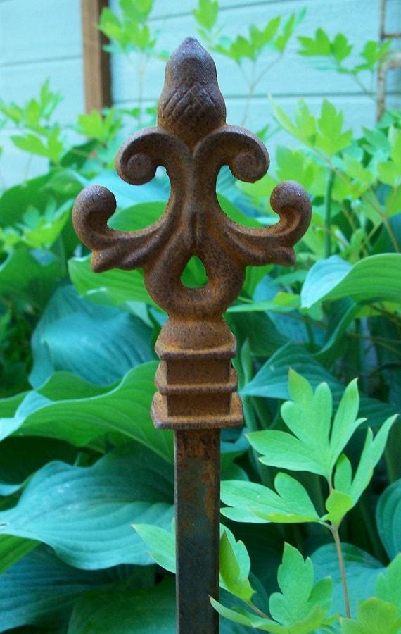 Steel Garden Stake, Rusty Garden Decor, Steel Acorn Hose Guide, Home and Garden