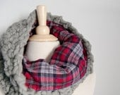 Catskills Flannel Lined Cowl - Chunky grey wool lined in red plaid flannel