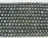Freshwater Pearl Beads Genuine Natural Pearl 6-7mm Offround Black 15''L 5277 Wholesale Pearls