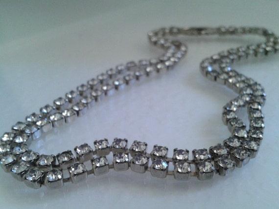 Art Deco Double Strand Rhinestone Choker Necklace