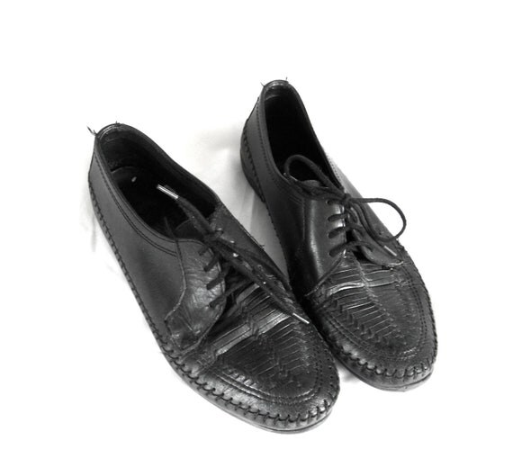 80s black woven leather oxford mocassin flats US women's 9