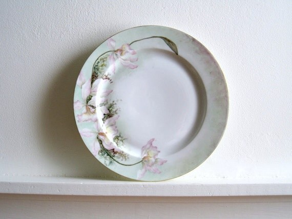 Vintage Limoges China Plate - Pink Floral with Mint Green