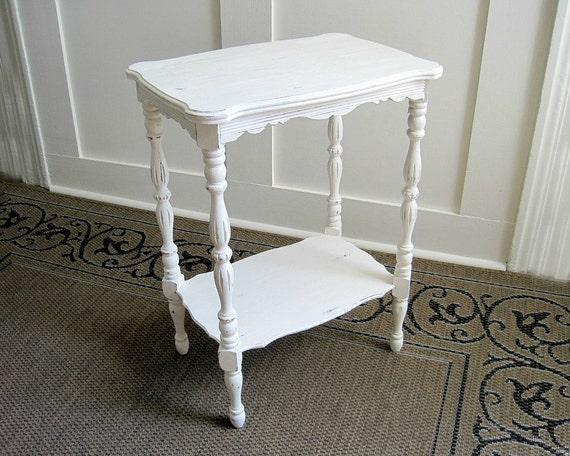 Vintage Shabby White Side Table - Cottage Furniture