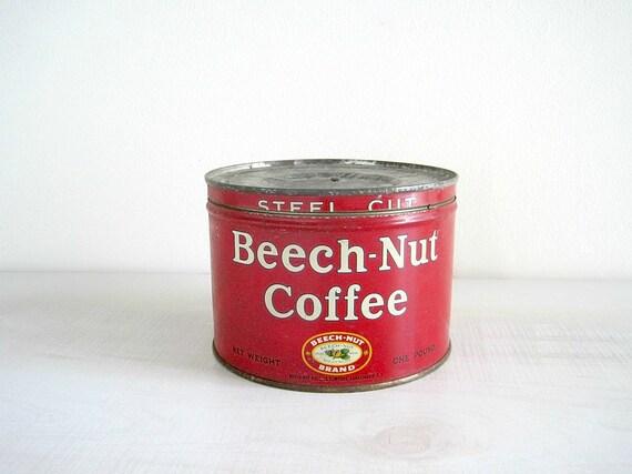 Vintage Coffee Tin - Beech Nut - Red Kitchen Decor