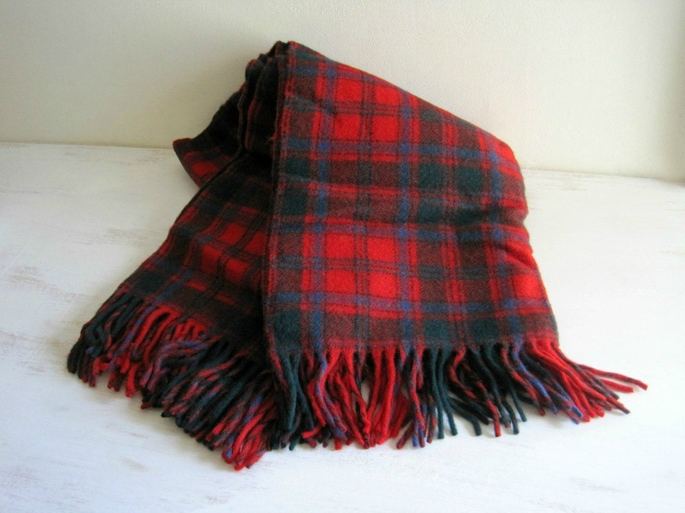 Vintage Pendleton Wool Plaid Blanket Red By Goldendaysantiques