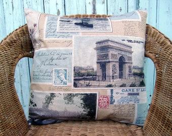 throw pillow cover - travel pillow - Rome pillow - Paris pillow - decorative pillow - vintage pillow - postage pillow - accent pillow