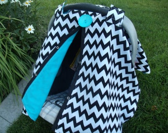 Carseat canopy FREESHIPPING Chevron Turqouise