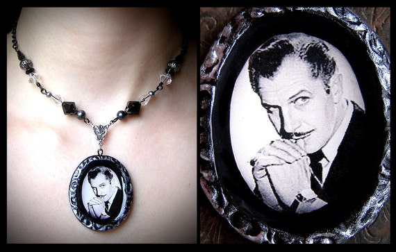 RESERVED, Vincent Price necklace, horror, actor, vintage, film, spooky, macabre, glass beaded, black, silver, faux pearl, gothic