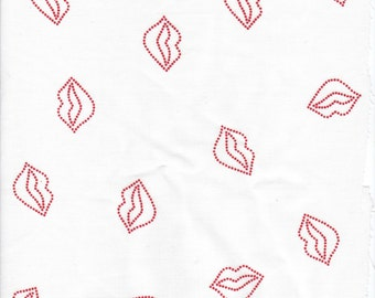 2 yards Red Lips Print on White Cotton blend fabric