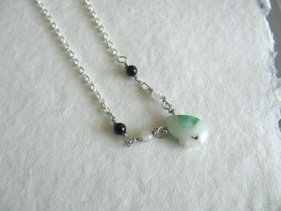 Raw Chrysoprase Drop Necklace with Black and White Agate