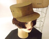 SALE 1940s WWII Military Hat //  Unisex Cap // Khaki // Size 7 and a Half