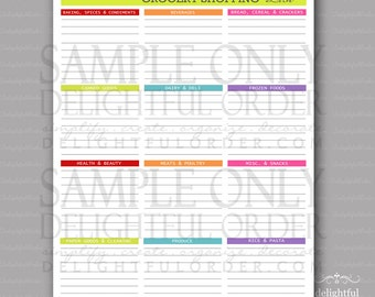 Colorful - Grocery Shopping List PDF Printable File - Instant Digital Download