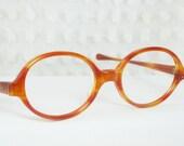 Vintage 60s Eyeglasses 1970s Round Horn Rim Glasses Orange Oval NOS 48/20 Optical Frame