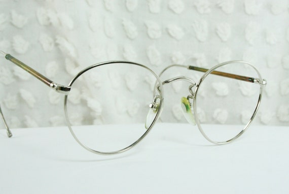 Mens Wire Frame Glasses : 70s Round Glasses 1980s Safety Frame Mens Silver by ...