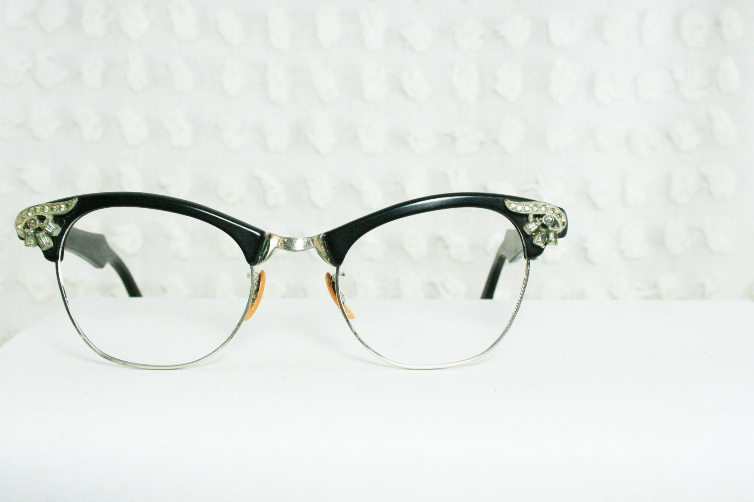 50s Rhinestone Eyeglasses 1950s Cat Eye Glasses by DIAeyewear