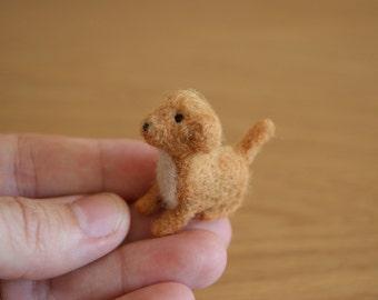 Felt dog, brown doggy, felt toy, natural wool toy, tiny soft sculpture, miniature dog, needle felted dog