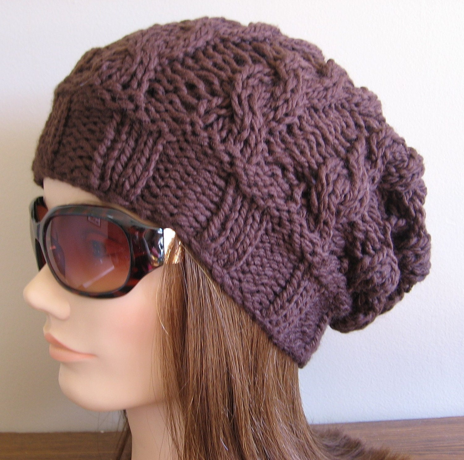 Slouchy Cable Knit Hat Pattern : PDF Knitting Pattern Knit Slouchy Hat / Lyra