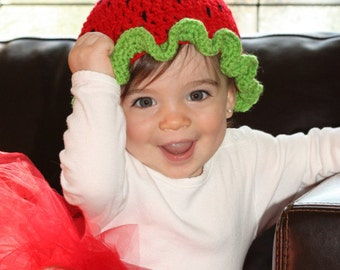 Baby Girl's Strawberry Hat Costume Circumference 13.5 to 17 inches READY TO SHIP Strawberry Shortcake Halloween