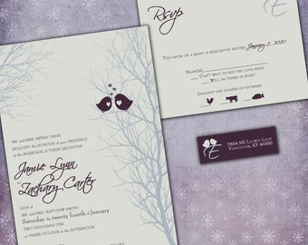 Winter Wedding Invitations - Love Birdies -  with RSVP cards and address labels - Sample