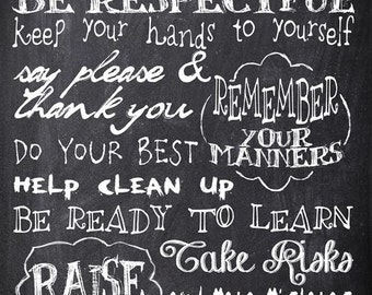 Personalized Chalkboard Teachers Rules, Subway Sign Art Print, School Gift for Teacher, Classroom Decor, Class Gift, Black Friday Sale