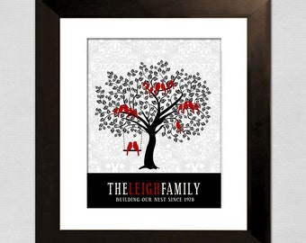Last Minute Gift, Family Tree, Custom Art, Mother's Day Gift, Red and Black Wall Art, Printable File