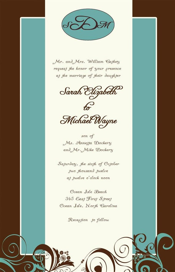 Custom Listing for scathey88 - brown and aqua flourish invitations