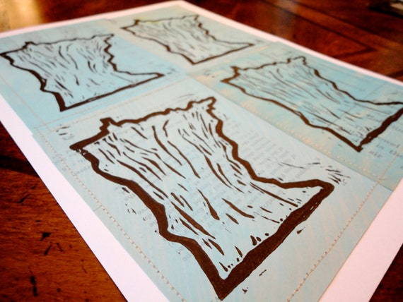 Oh Minnesota lino print