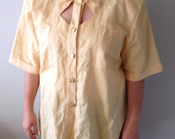 Vintage 80's Linnen Button Down shirt with Geometric Cut-Out