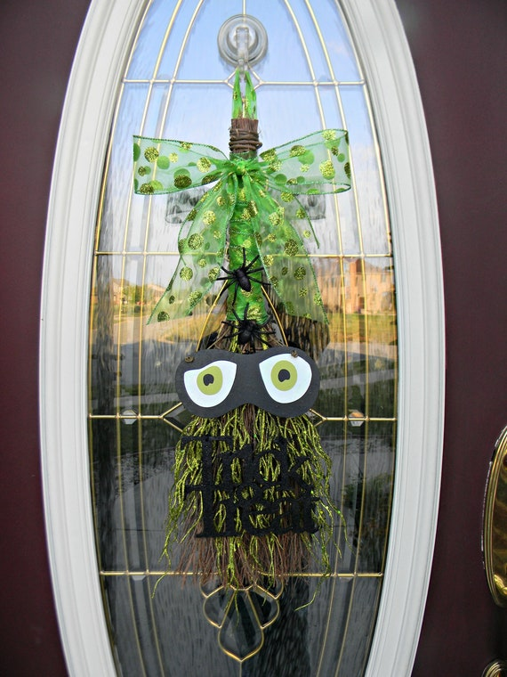 "Halloween Vertical Broom Door Swag Decor..""Watching You"" Ready to Ship"